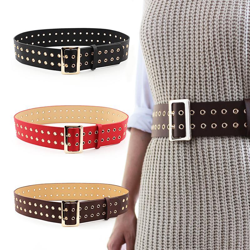 Compre Cinturones Con Hebilla De Doble Pin De Seabigtoo Para Jeans De Mujer  Cinturones Negros Punk Rock Para Vestidos PU Correa De Cuero Cinturón  Pantalones ... cb066ce344d6