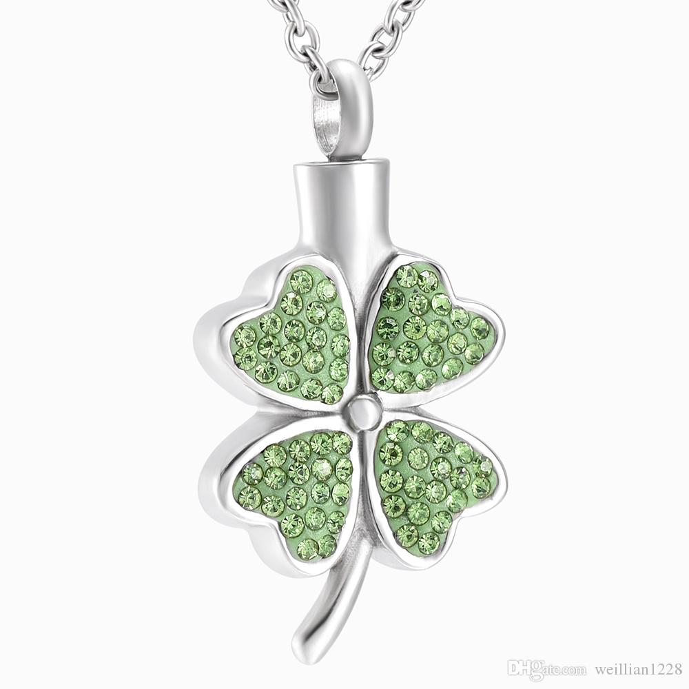 ZZL106 Four Leaf Clover Shape Luck Pendant for Loved Ones Ashes Holder Memorial Human Cremation Jewelry Necklace