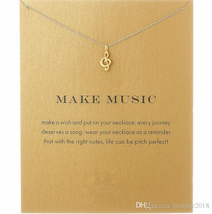 New Fashion Dogeared Necklaces Women's Alloy Love Make Music Note Fashion Pendant Chain Necklace T061