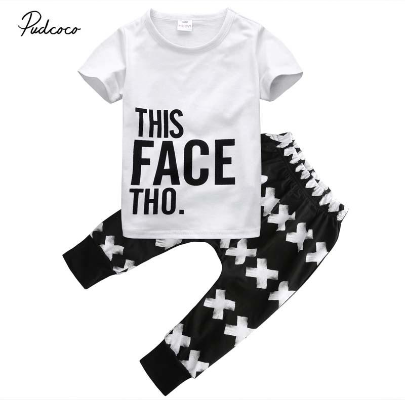 3fde9621bf00 2019 Baby Boys Letter Sets Toddler Kid Baby Boy 2018 New Summer T ...