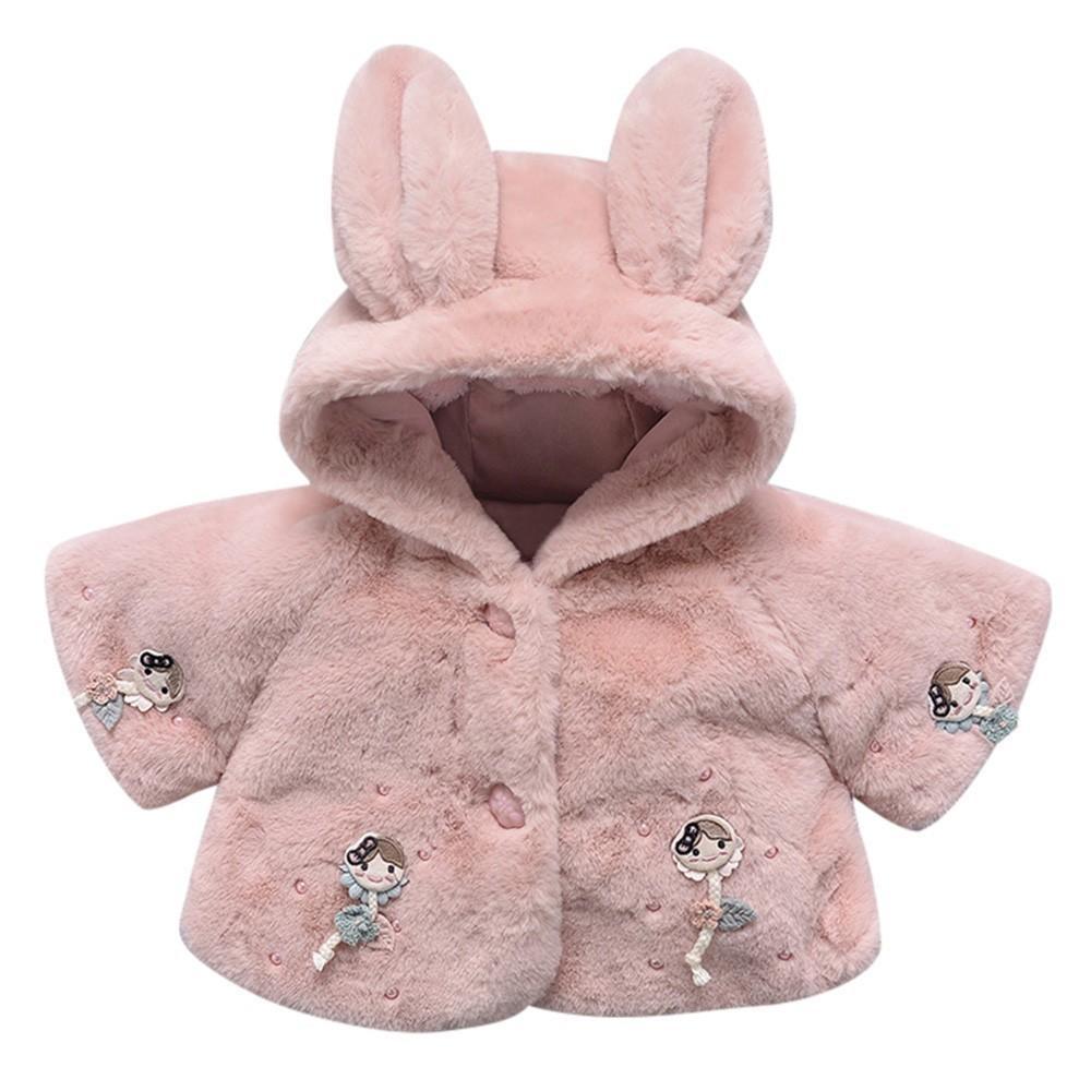 ab9d3870b Baby Girls Winter Jackets Rabbit Padded Cape FauxFur Fleece Coat ...