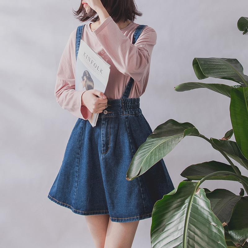 34546dde1ca 2019 2019 Korean Summer Vintage Sweet Preppy Style Women Jeans Suspender  Blue Casual Denim Straps Overall Mini Skirt C19041601 From Lizhang03