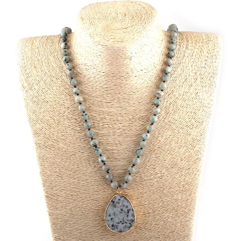 Fashion Bohemian Tribal Jewelry Halbedelsteine Lange Geknotete Stein Tropfen Anhänger Halsketten Frauen Ethnische Halskette