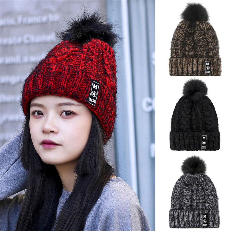 89968099fea Lady Unisex Fashion Women s Winter Color Matching Hair Ball Knit Hat ...