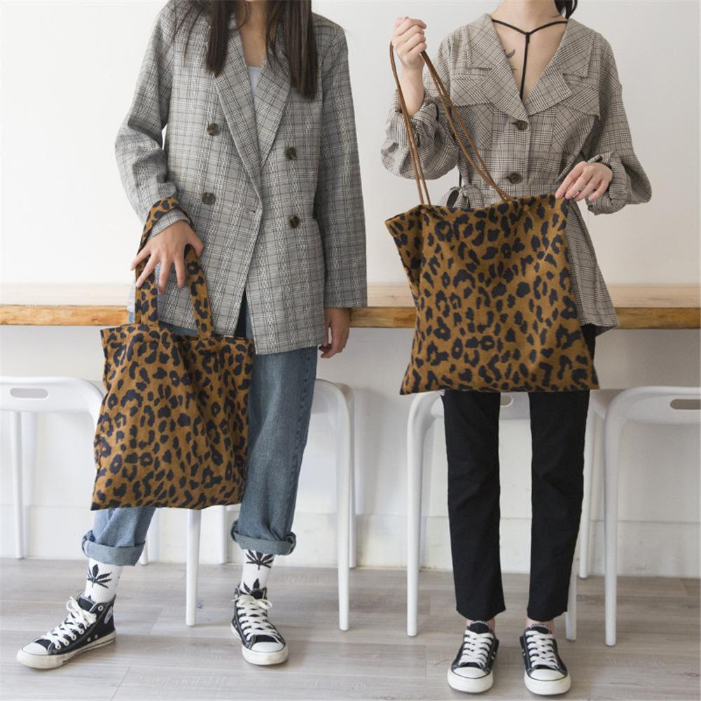 Leopard Print Shoulder Bag Corduroy Vintage Fashion Leopard Tote Hand Bags Women Ladies Casual Shopping Shopper Handbags Purse MMA1736