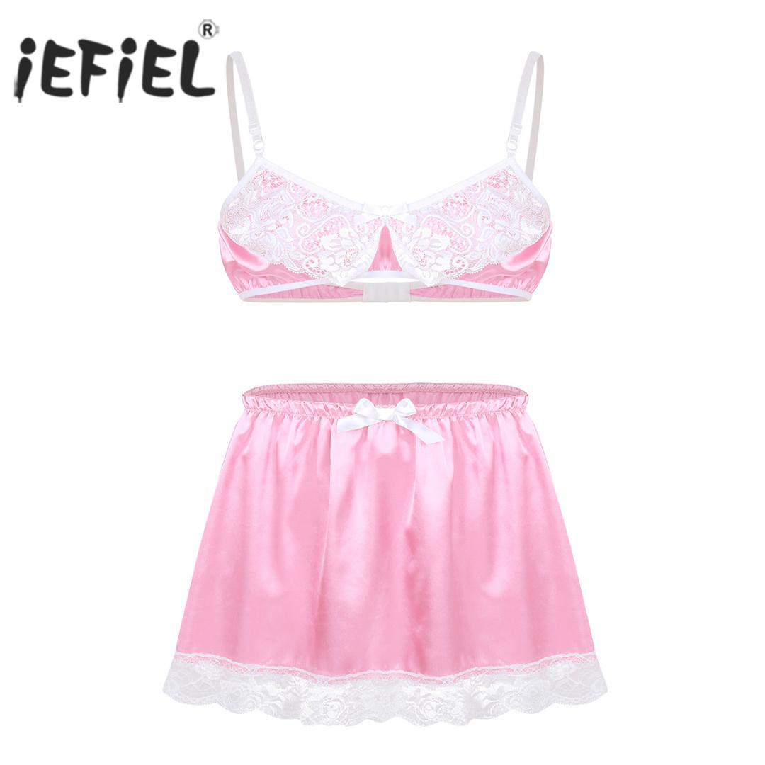 cde616912 2019 IEFiEL Mens Lace Sissy For Male Lingerie Set Babydoll Slip Hommes  Spaghetti Straps Bra Top With Short Skirt Gay Sexy Underwear From Mufuzuo