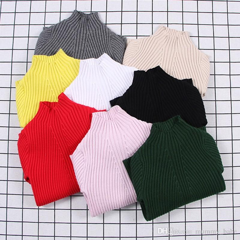 9e67d191a Baby Girls Ribbed Sweater 2018 Girls Sweaters Solid Candy Color Boys  Sweaters Autumn New Knitted Kids Clothing Girls Pullover