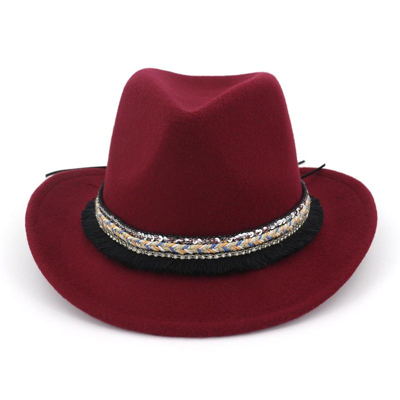 d98f089004c Unisex Men Women Wool Felt Trilby Jazz Fedora Hats Ethnic Tassel Ribbon  Decor Man Female Lovers Roll Brim Cowboy Hat Cap Online with  9.72 Piece on  ...