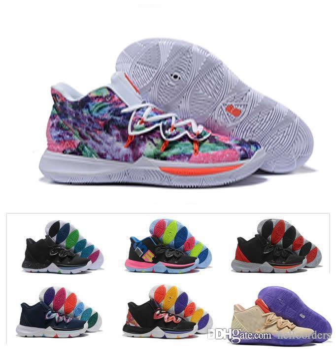 huge discount 8395f b2d59 2019 New Boys Kids Trainers Kyrie V Lucky Charms shoes sale Irving 5  Basketball 5s shoes Youth Girls Women size 32-39