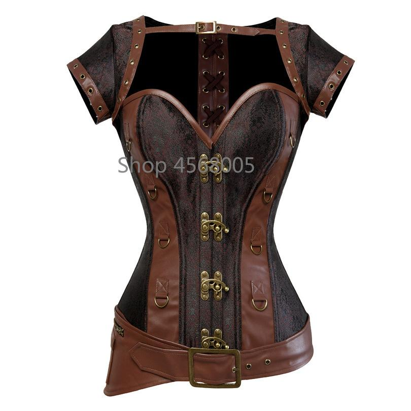 6a4230aa6dd 2019 Corset Steampunk Bustier Gothic Corset Women Corselet Sexy Retro  Leather Short Sleeve D Ring Buckles Tops 6XL From Elseeing