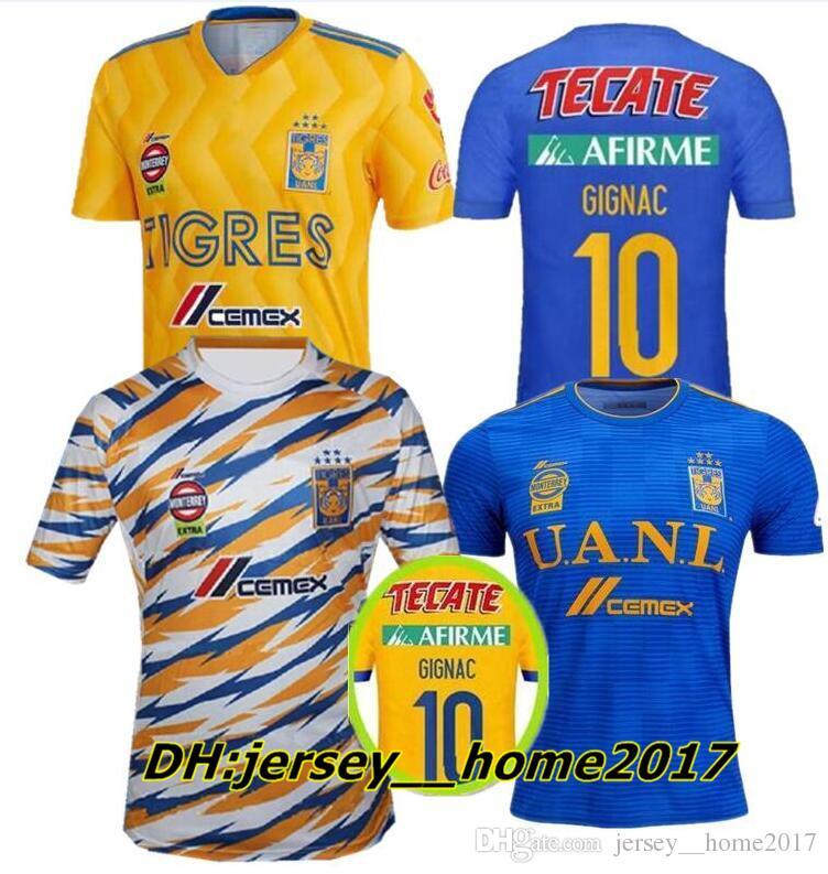 18 19 Camiseta De Fútbol Del Club Tigres UANL De México. Casa Amarilla 6  Estrellas 2018 2019 GIGNAC Vargas H. Ayala Camiseta De Fútbol Azul De  Visitante 3. 1493840d4167d