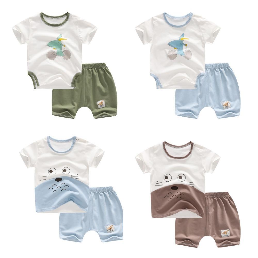 Compre Bebé Recién Nacido Niña Niño Ropa De Verano Tops Y Pantalones Cortos 2  Piezas Conjunto Camiseta Barata Mameluco Manga Corta De Dibujos Animados ... 0f428845ddd28