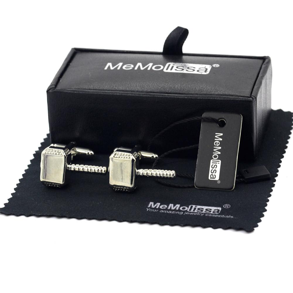 MeMolissa Display Box Trendy Hammer Cufflinks Silver Men's Cufflinks Simple Business Shirt Free Tag & Wipe Cloth