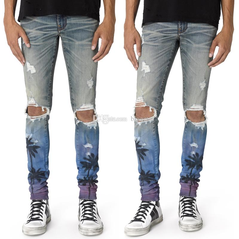 7860ead44a1 2019 Palm Print Denim Jeans With Plus Size 40 Damage Distressed Fading  Destroyed Hole Denim Jeans Male From Bigget