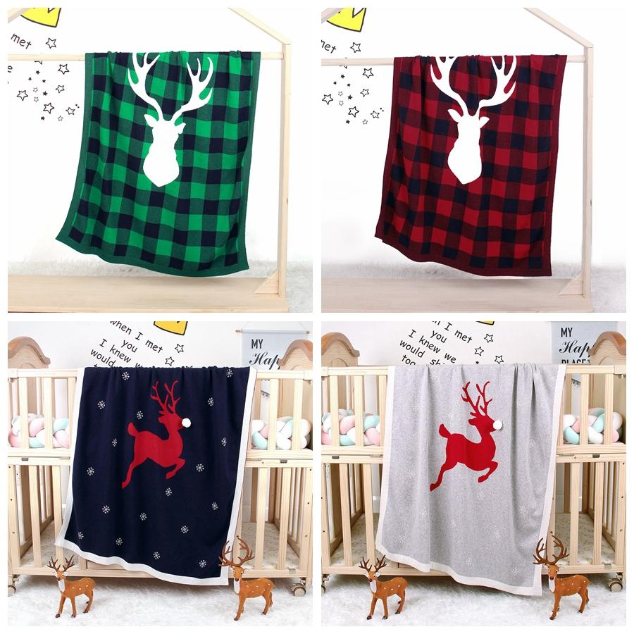 Baby Milestone Blankets Unicorn Christmas Plaid Wraps Knitted Stroller Quilt Deer Lattice Souvenir Air Condition Nap Blanket TTA2148