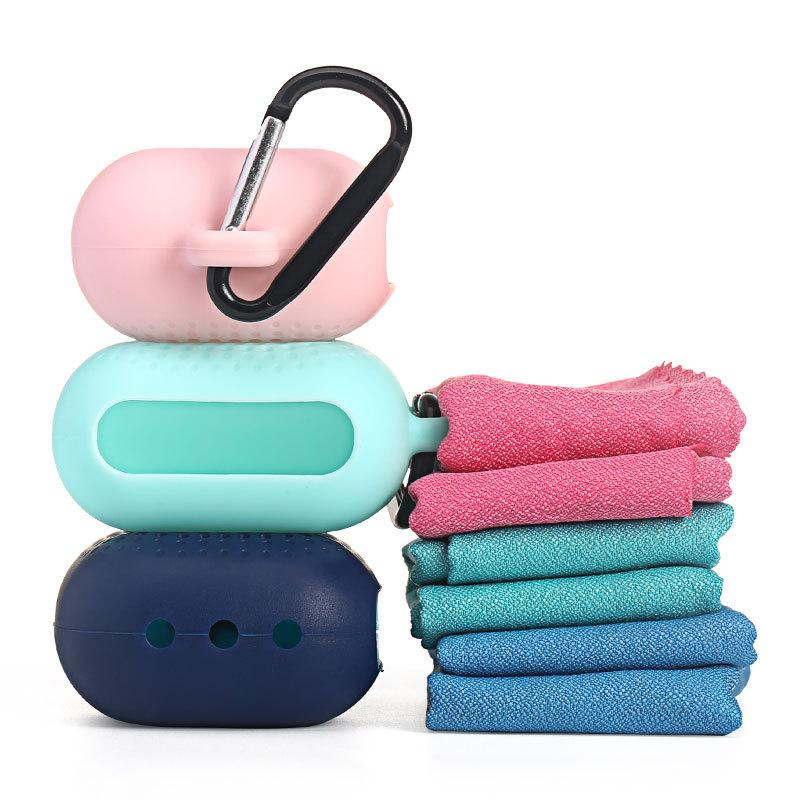 Silicone Case for Travel Camping Backpacking Microfiber Fast Drying Towel