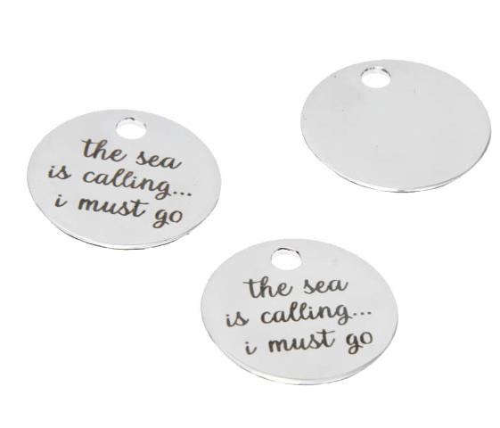 10pcs/lot Beach charm The Sea is Calling.....I must Go Stainless steel message Charm pendant 20mm