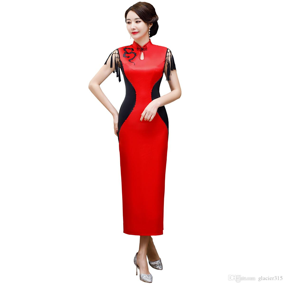 f2936d9f8 Shanghai Story Top Quality Lace Sleeve Long Cheongsam Qipao High Split Chinese  Dress Party Dress Dresses Cocktail Dresses Evening From Glacier315, ...