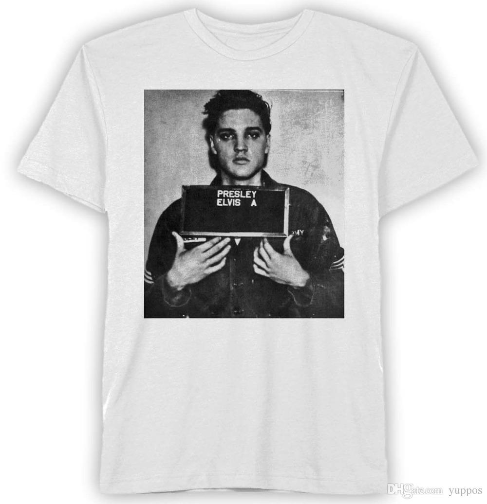 24462798a4d Fashion 2018 Summer Elvis Presley Mugshot White Men S Graphic T Shirt New  Men Funny Casual Streetwear Hip Hop Printed T Shirt Best Deal On T Shirts  That T ...