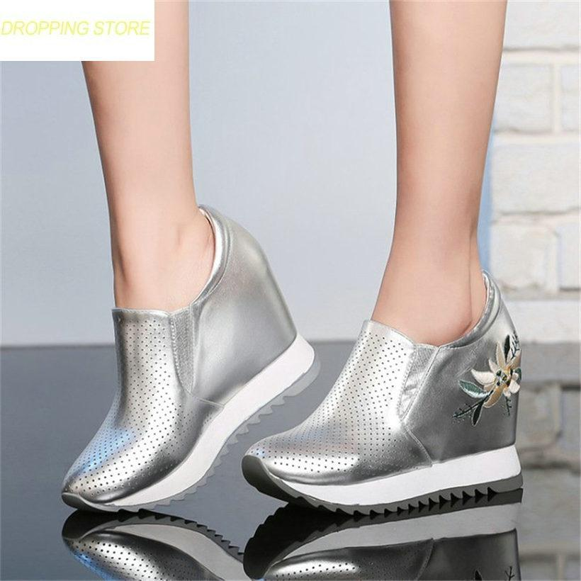 2e24d8c642 Fashion Casual Shoes Women Leather Wedge Heels Platform Pumps Breathable Summer  Boots Sandals High Heels Creepers Mens Trainers Walking Shoes From  Facebooks ...