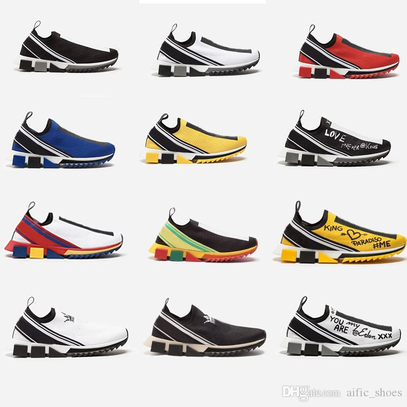 buy popular e9565 dde94 Unisex Knit Sorrento Sneaker Männer Stoff Stretch Jersey Slip-on Sneaker  Blau Schwarz Mesh Sneakers Laufen Lässige Schuhe Mit Box Größe 35-46