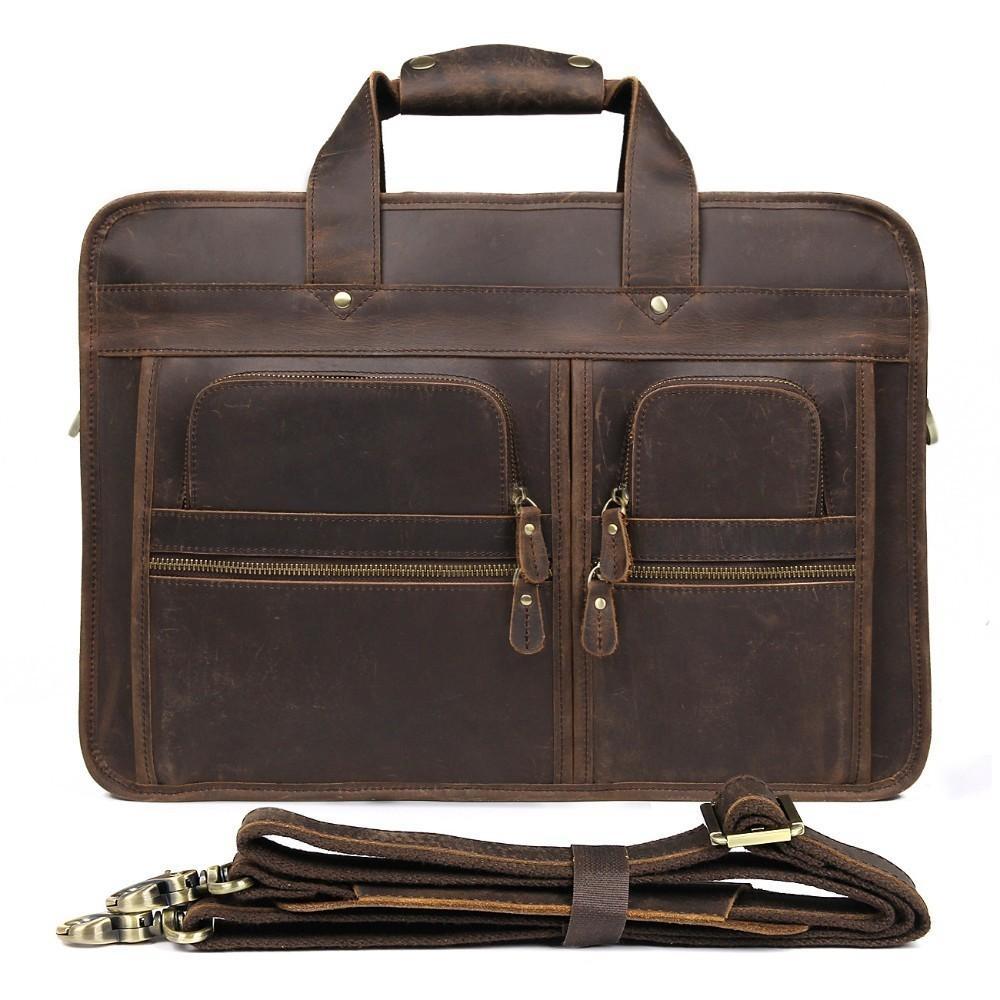 VintageTop Grade Men S Briefcase Real Crazy Horse Leather Male Messenger  Shoulder Portfolio Laptop Bag Case Office Handbag Saddleback Bags Leather  Shoulder ... a4a77e3575