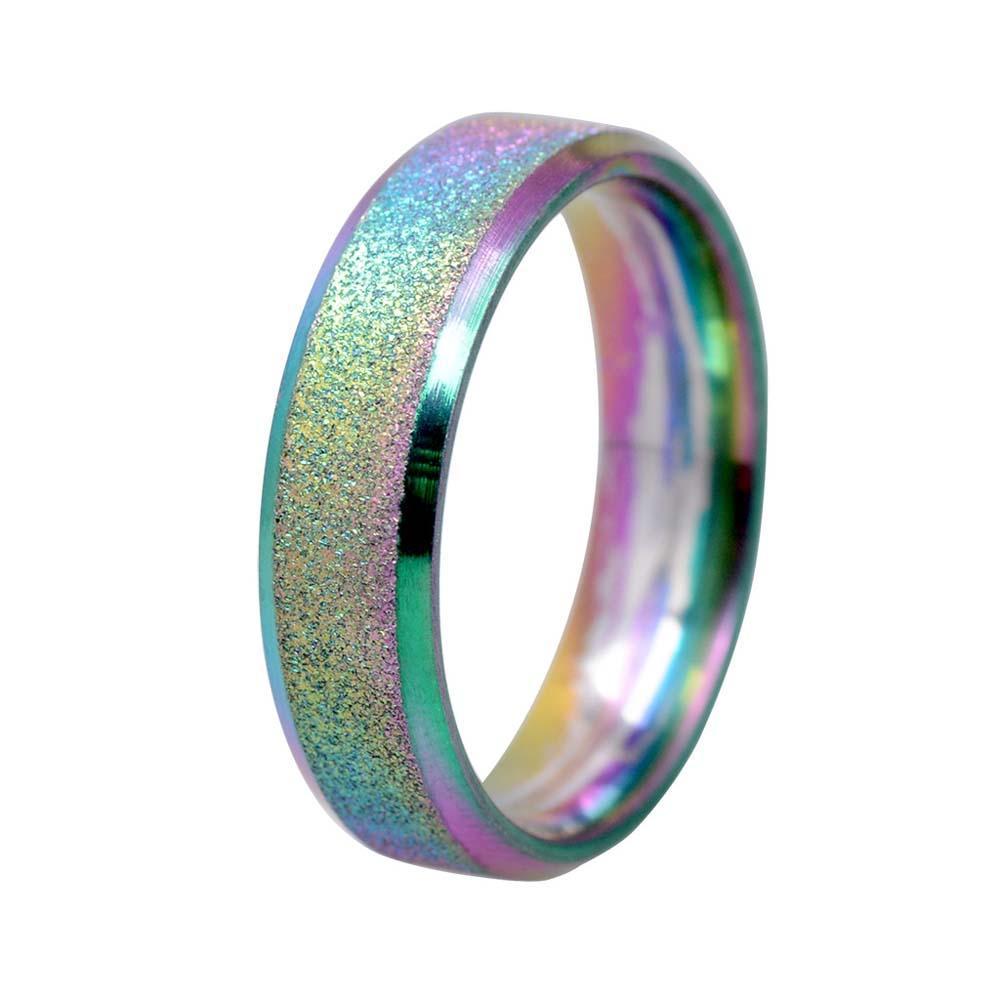 Fashion Scrub Rainbow Color Sandblasting Ring Men Simple Stainless Steel  Ring Women Wedding Rings