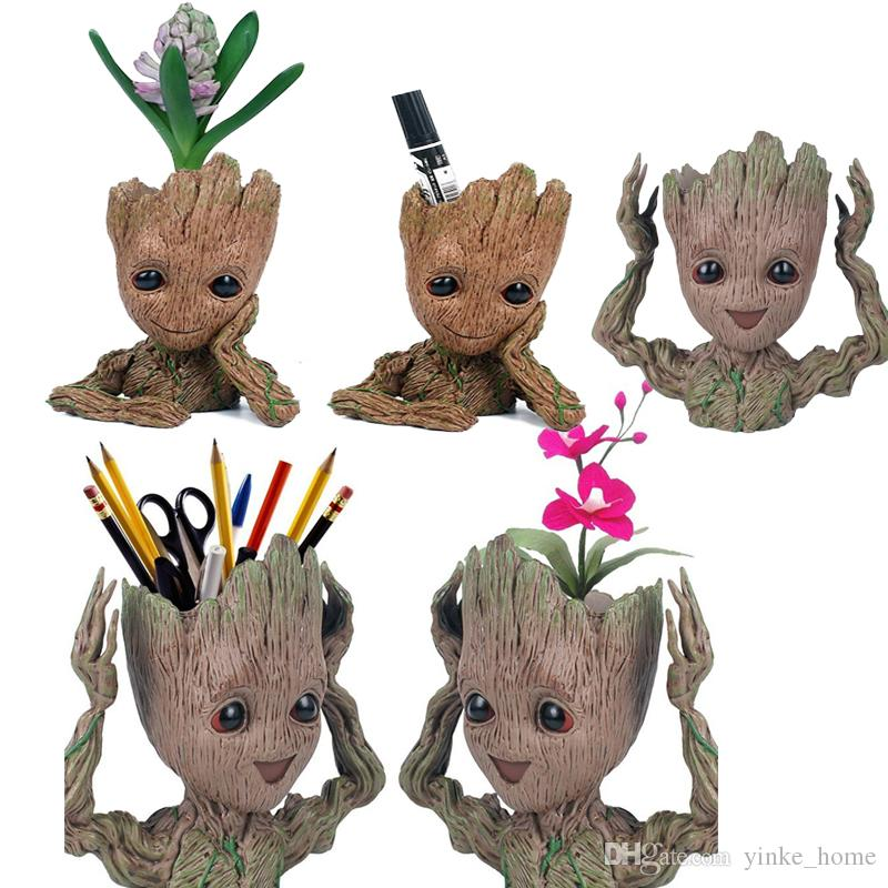 Tree Man Pencil Pen Holder Flower Pot Guardians of The Galaxy Flowerpot Baby Action Figures Cute Model Office Desk Organizer Storage Box