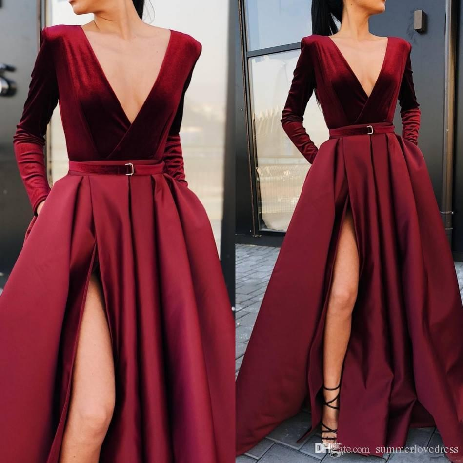 2019 New Burgundy Long Sleeves Satin A Line Evening Dresses Deep V Neck High Split Ruched Floor Length Formal Party Prom Dresses