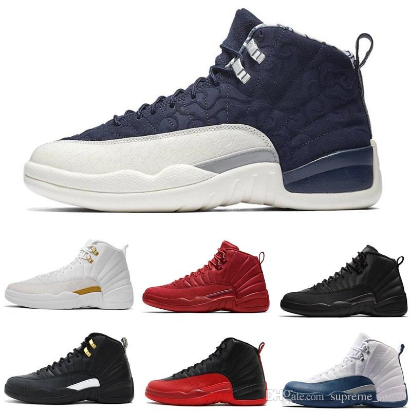 on sale 964a1 779c3 12s Basketball Shoes 12 WNTR Gym Red Taxi White OVO Gym Dark Grey French  Blue Men Women Sneakers Sport Designer Shoes Size 7-13