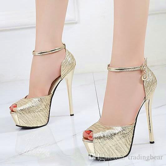 Compre 14 Cm Elegante Oro Ultra Tacones Altos Novia Zapatos De Boda Plata  Negro Tamaño 34 A 39 A  31.66 Del Tradingbear  cb363ec4e42d