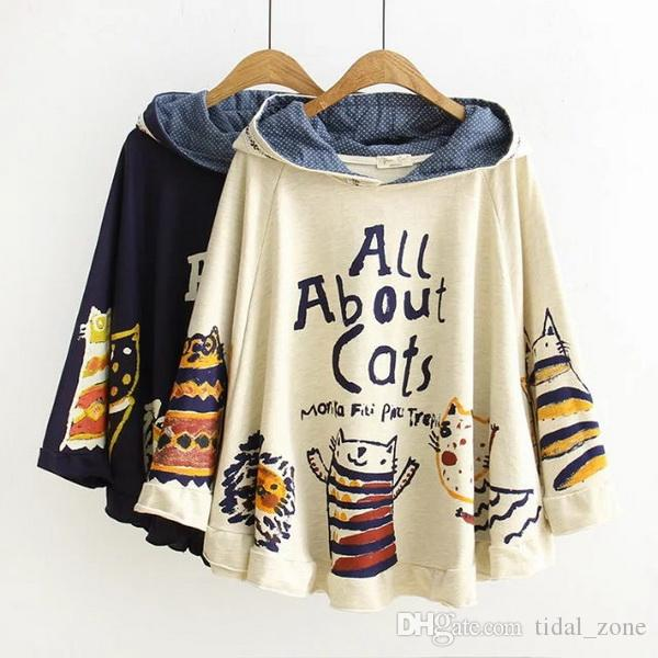 2019 Women's Japanese Academy Wind Cartoon Printing Stitching Cap Cloak Loose Cotton Sanitary Clothes hoodies sweater