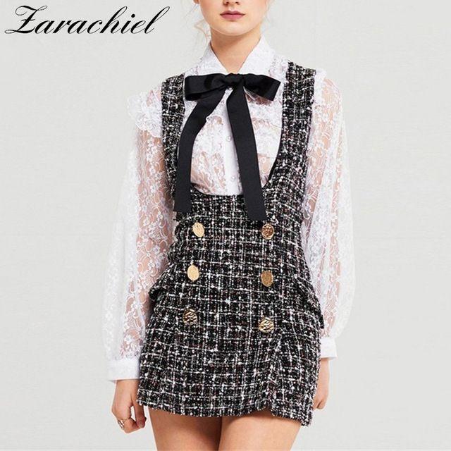 Autumn Winter Set Dress Women Ruffles Bow Shirt Lace Top+Plaid ... 4c86f678ea2c
