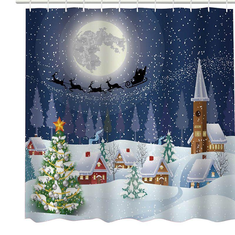 2018 180x180cm Christmas Shower Curtains Bathroom Xmas Santa Claus Tree Snowflakes New Year Gift C18112201 From Mingjing03 1953