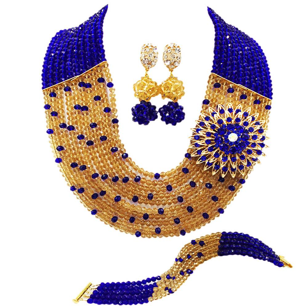 Fashion Royal Blue Champagne Gold Nigerian Wedding African Beads Jewelry Set Crystal Necklace Bracelet Earrings Sets 10SZ12