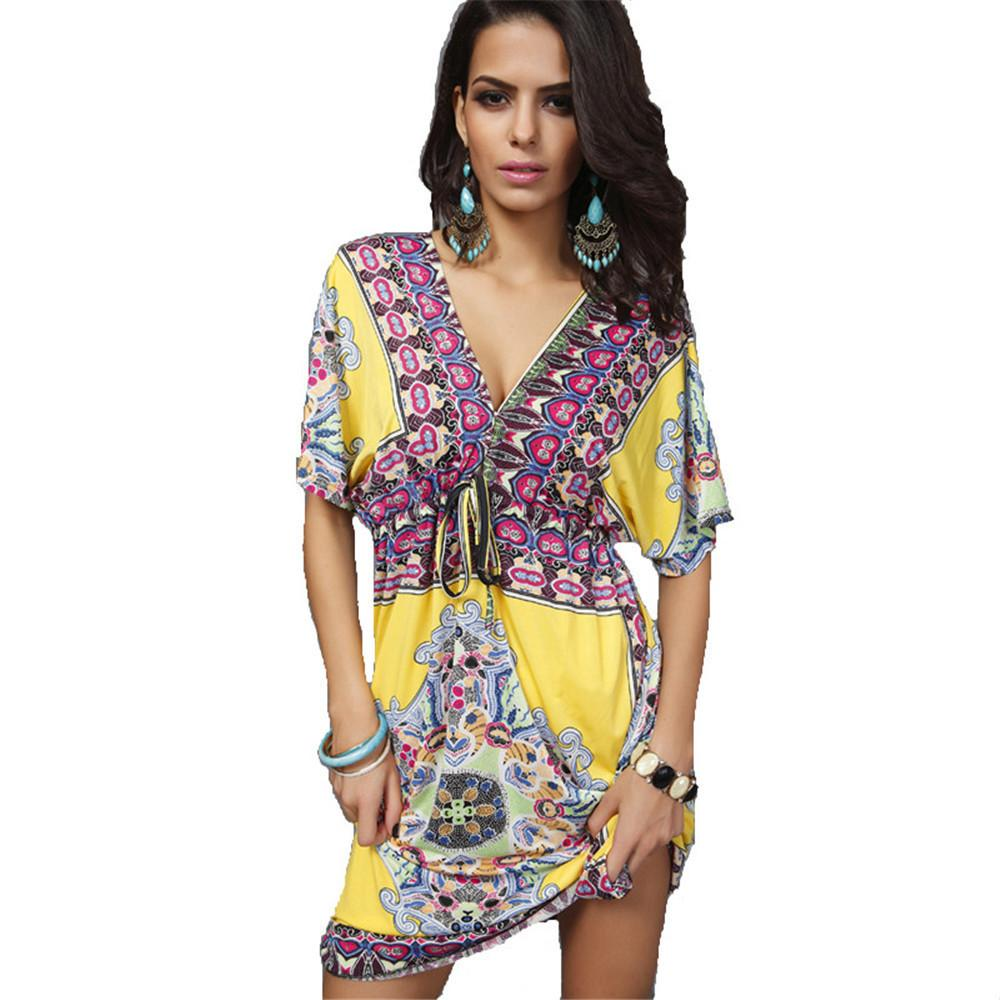 Fashion Sexy Bohemian Summer Elegant Print European Style Clothes Femme Vestidos De Festa Ropa Mujer Beach Women Dress C19040301