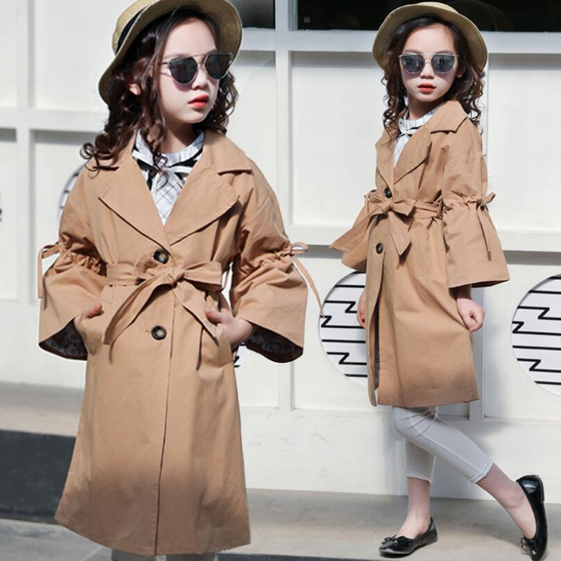 9856dde8374c Fashion 2018 Fall Toddler Teenage Girls Trench Coat Children Clothing Baby  Girl Cotton Bow Jacket Outerwear Kids Jackets JW3596 Ladies Long Trench Coat  ...