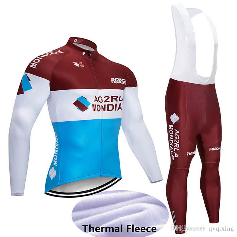 2019 AG2R Winter Cycling Jersey Set Long Sleeve Thermal Fleece Men ... 43bc40e66