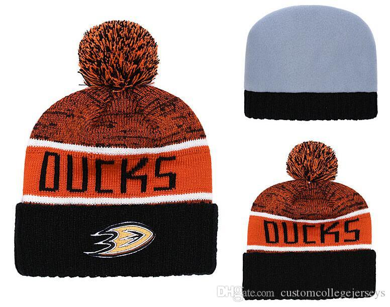 93e860b04f9 2019 Men S Anaheim Ducks Ice Hockey Knit Beanie Embroidery Adjustable Hat  Embroidered Snapback Caps Black White Orange Stitched Knit Hat From ...