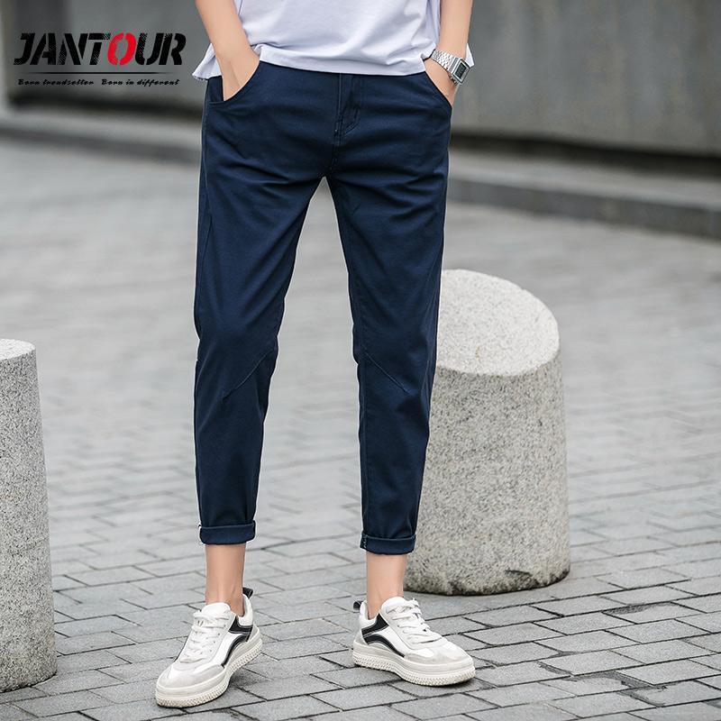 b5382ee330 jantour primavera estate nuovi pantaloni casual da uomo in cotone slim fit  pantaloni chino alla caviglia pantaloni moda maschile marchio di ...