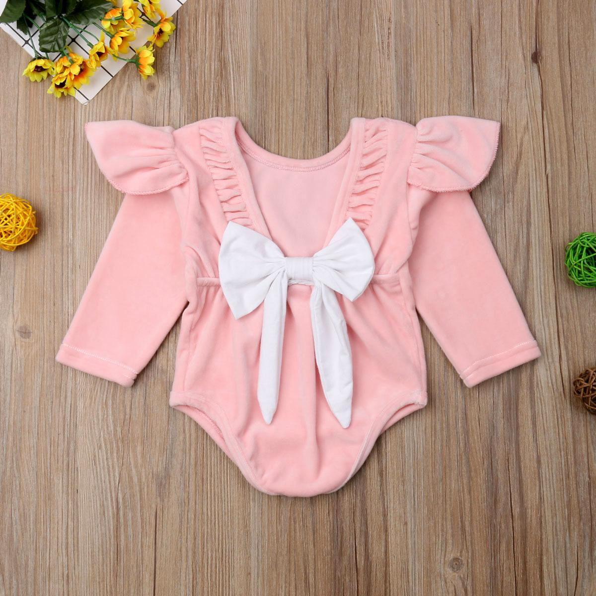 8f1a3ac4918 Newborn Infant Baby Girl Clothes Princess Romper Ruffle Long Sleeve Velvet  Solid Jumpsuit Backless Large Bow Tie Sunsuit Outfit Online with   16.4 Piece on ...