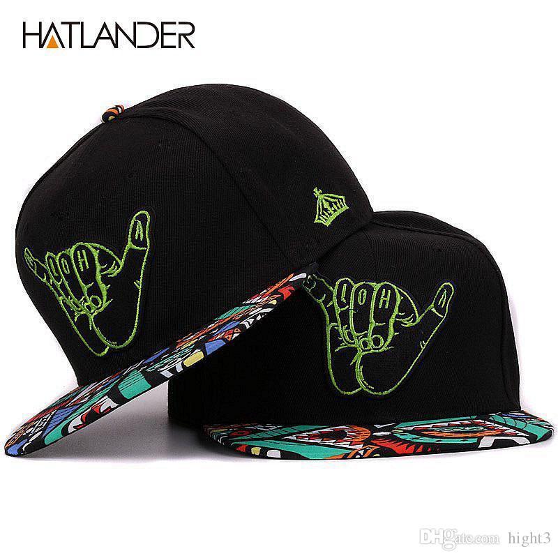 dc1f47f5d Compre Hatlander Bordado Mão Preto Bonés De Beisebol Borda Plana Bboy  Gorras Esportes Chapéu Hip Hop 6 Painel Ajustável Snapback Bonés E Chapéus  De Hight3