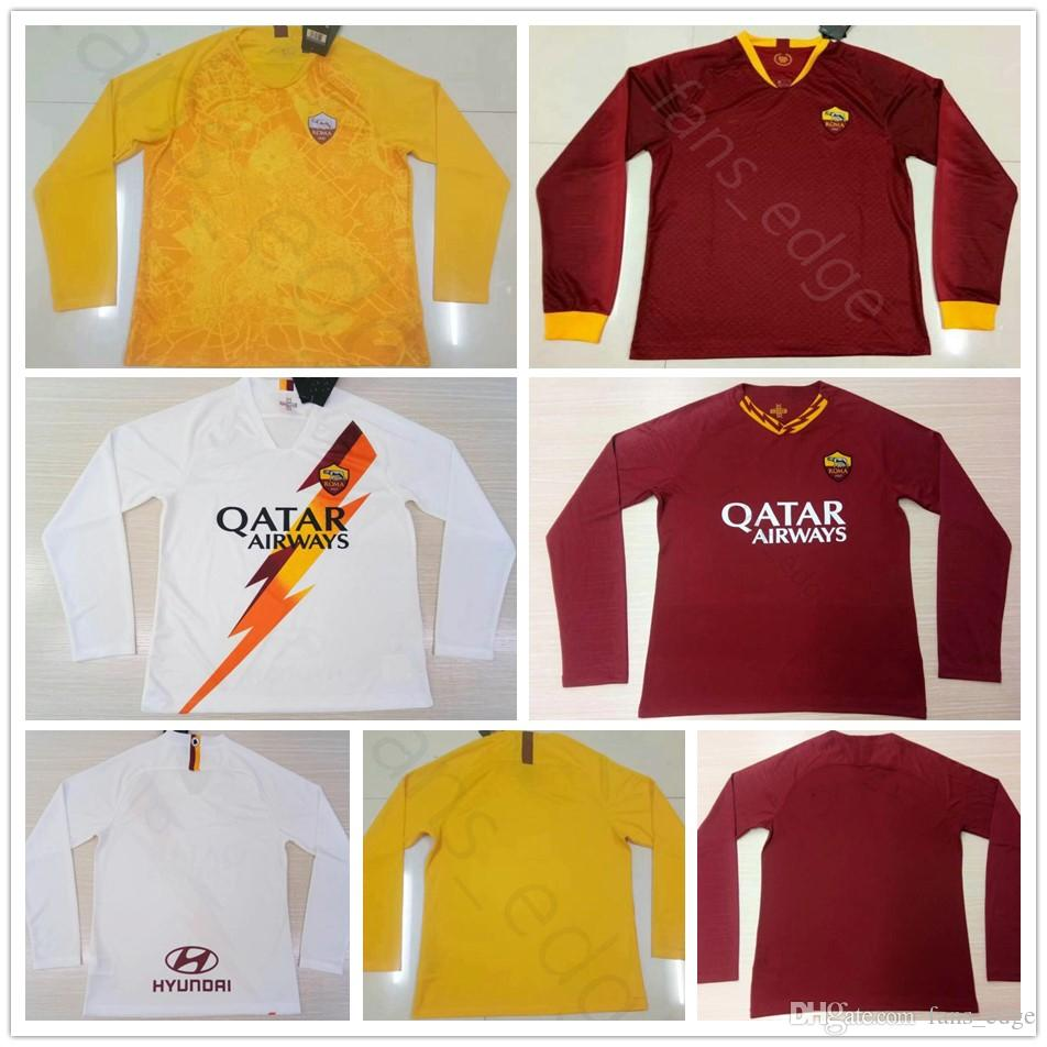 buy popular c8e3f 42676 2019 2020 Roma Long Sleeve Soccer Jerseys NAINGGOLAN TOTTI DZEKO PEROTTI DE  ROSSI PASTORE Custom Home Red White 19 20 Rome Football Shirt