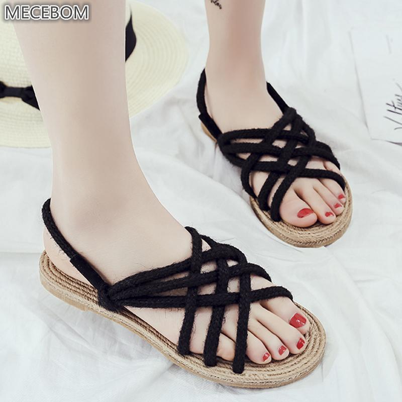 72953f4c6 Women Hemp Flats Heel Sandals Loafer Shoes Gladiator Anke Strap Cross Tied Open  Toe Weaving Casual Beach Driving Mocassins 1579w Tennis Shoes Oxford Shoes  ...