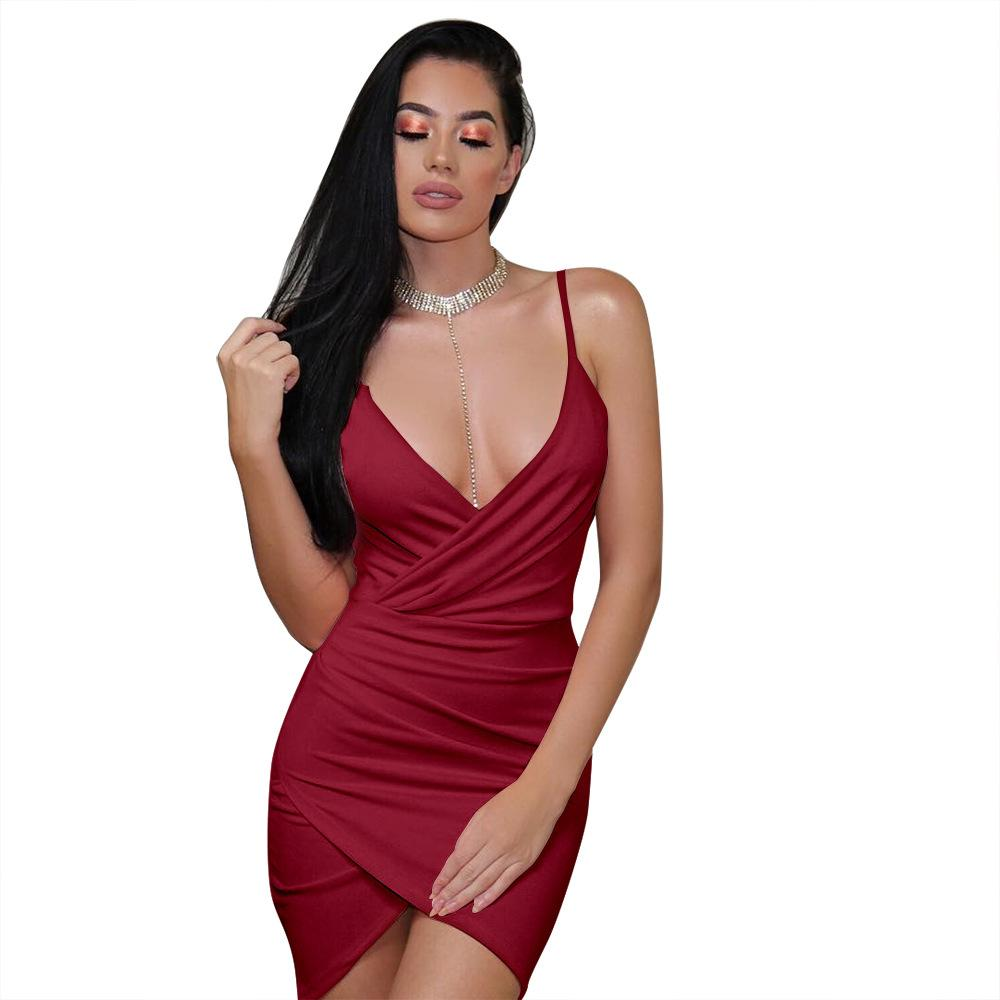 Women s Dress 2019 New Casual V-neck Short Skirt Fashion Sling ... 9baac89e5