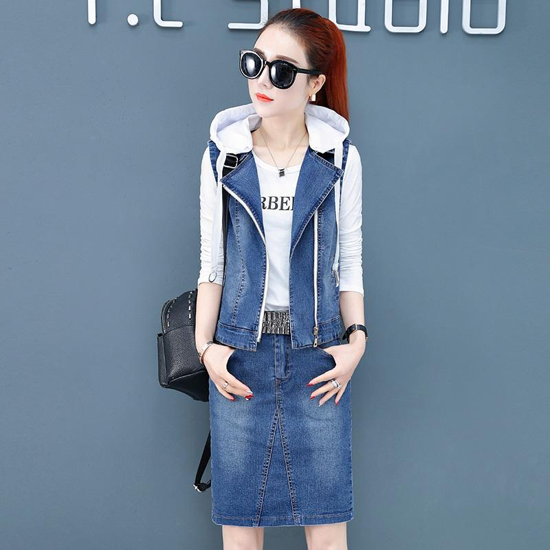 High quality Spring Autumn New Women's suit Fashion Hooded Denim Vest Jacket Women T-shirt +Denim Short Skirt 3 Piece set ON307