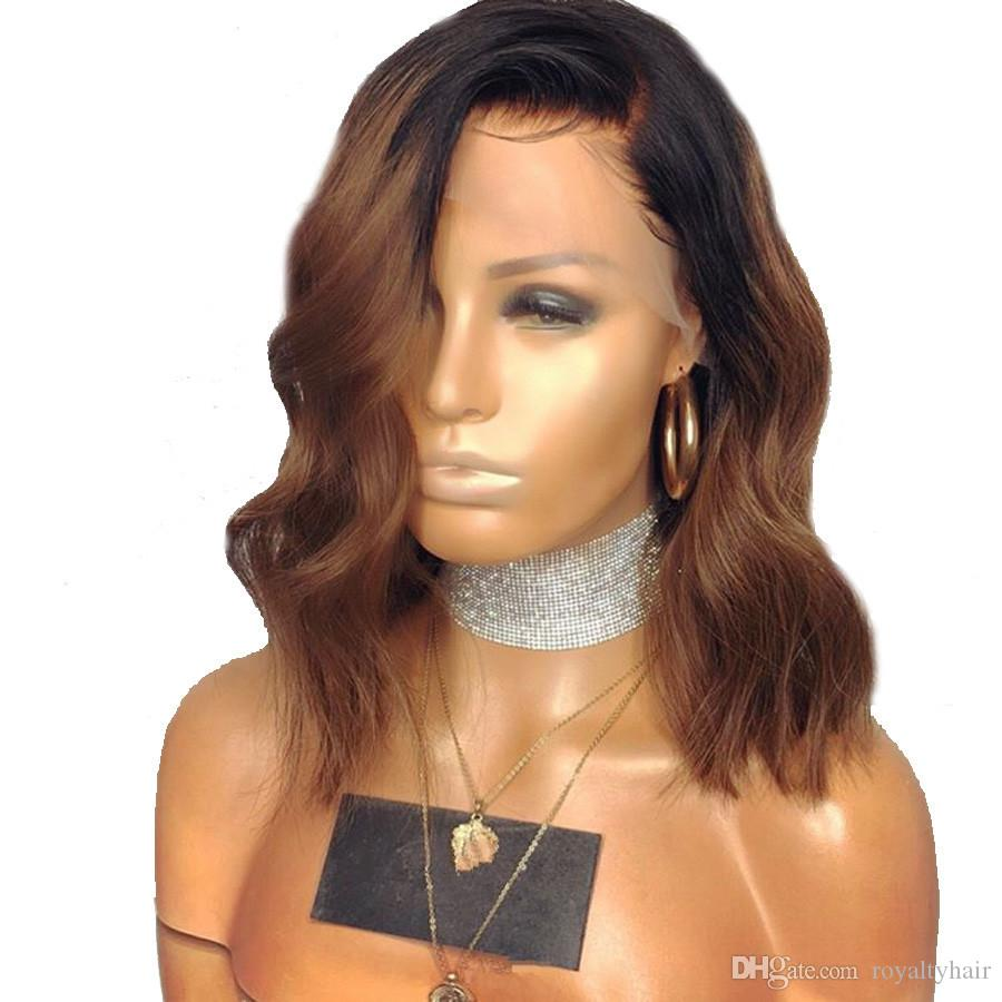 1b/Brown Ombre Lace Front Wigs Remy Pre Plucked Lace Front Human Hair Wigs With Baby Hair Short Wavy Bob Wigs Glueless