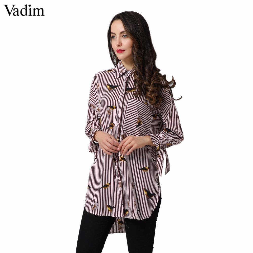 e30b2c29bff 2019 Vadim Birds Floral Pattern Striped Oversized Long Shirts Loose ...
