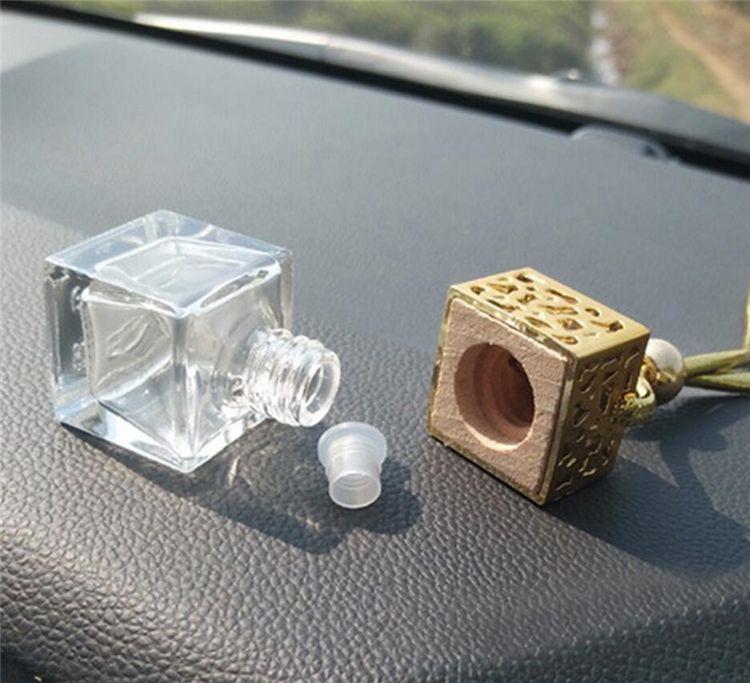 Botella de perfume del cubo hueco retrovisores de coches ornamento colgante ambientador de aire para Aceites Esenciales Difusor Perfume colgante de cristal vacía de la botella