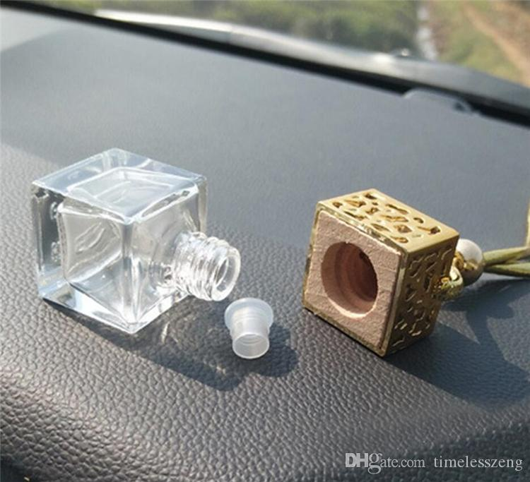 Куб Hollow автомобилей Духи бутылки заднего вида украшения Висячие освежитель воздуха для эфирных масел Диффузор Аромат Пустые бутылки из стекла подвеска